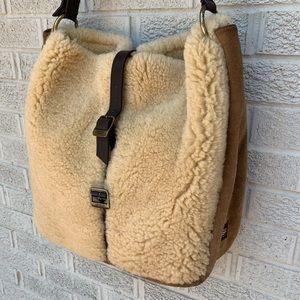 Ugg Shearling Sheepskin Chestnut Shoulder Bag